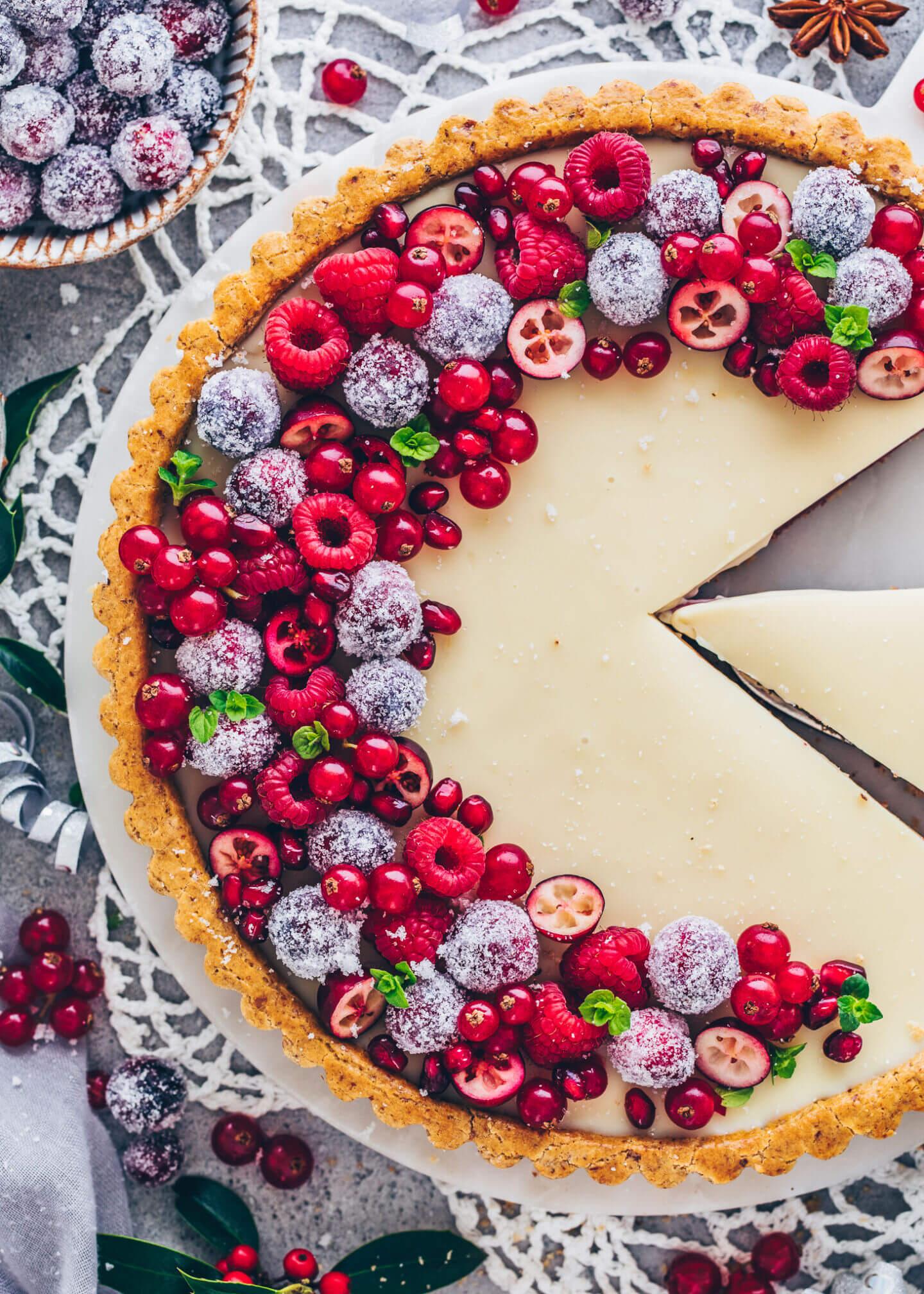 Raspberry White Chocolate Tart (Food Photography)