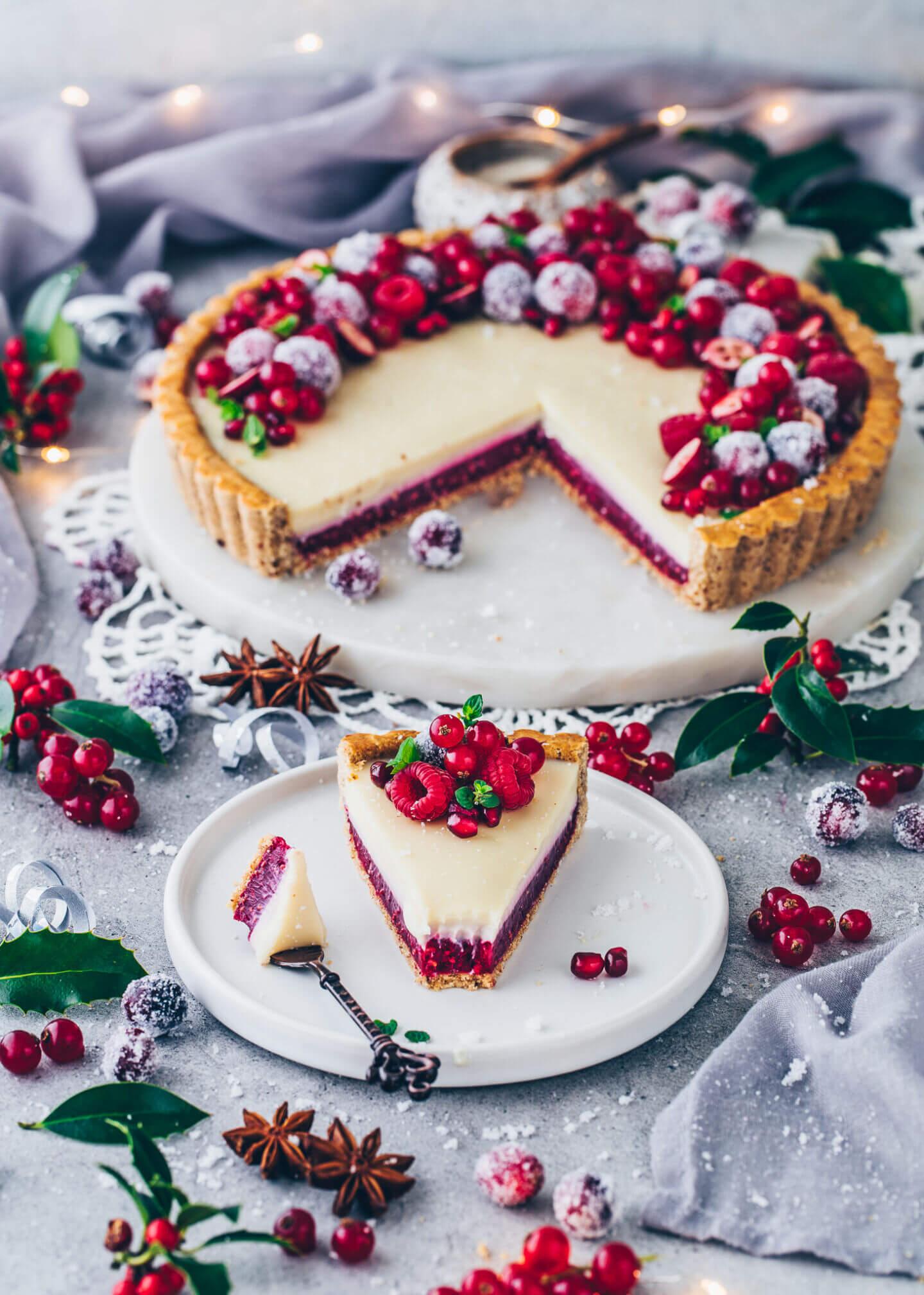 White Chocolate Raspberry Tart (vegan, gluten-free, healthy)