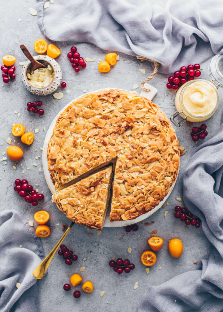 Bee Sting Cake with crunchy almond topping (German Bienenstich) Food Photography, Food Styling