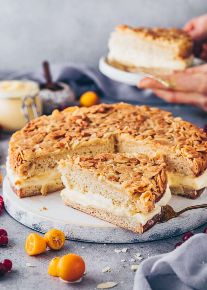 Bee Sting Cake with pudding cream and almond topping