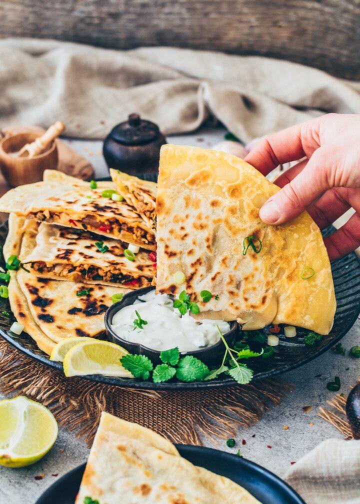 Gozleme Flatbread with veggie filling and vegan Tzatziki