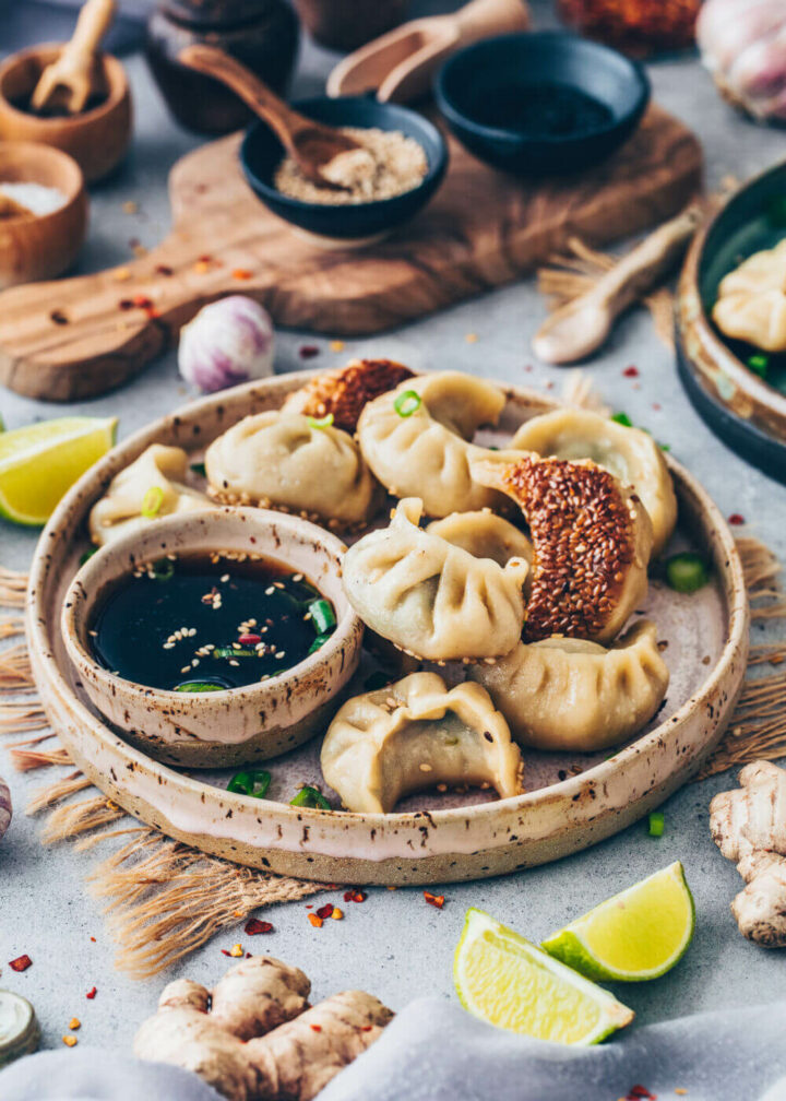 Gyoza, Dumplings, Potstickers with veggie filling, sesame crust and dipping sauce