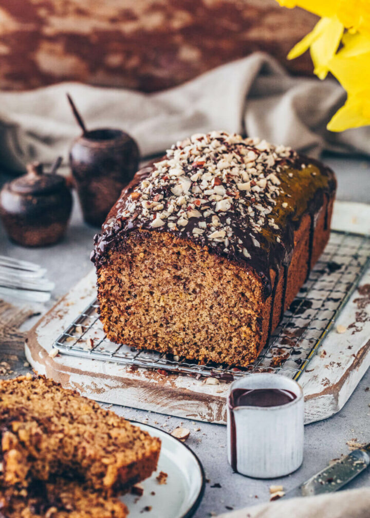 Hazelnut Bread with Chocolate Glaze