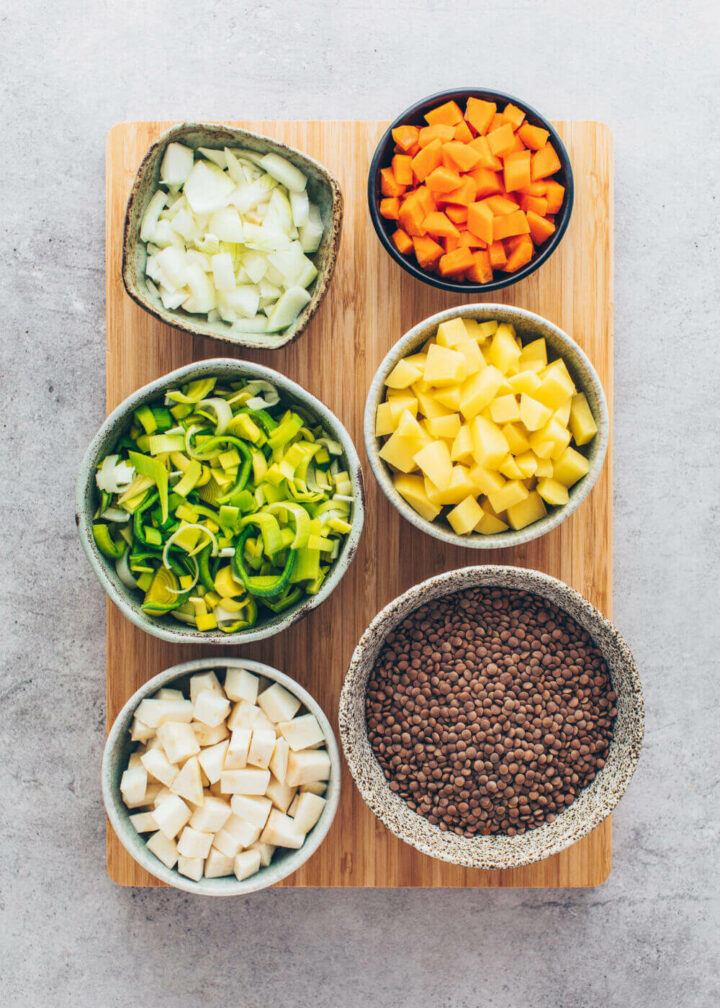 lentils, carrots, celery, potatoes, onions, leek (ingredients for lentil soup)