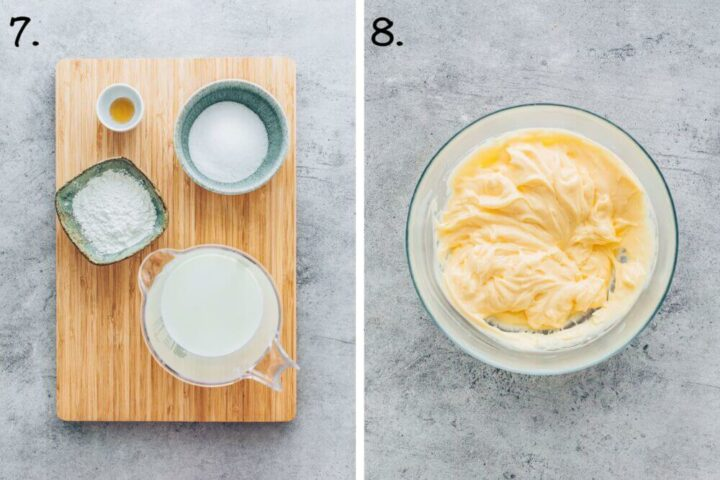 How to make pudding cream for vegan bee sting cake (step-by-step instruction)