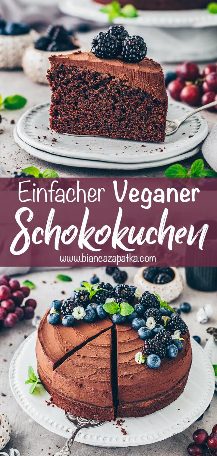 Veganer Schokokuchen mit Frosting (Schokoladen-Kuchen)