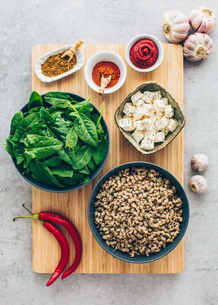 Ingredients for vegan Gozleme