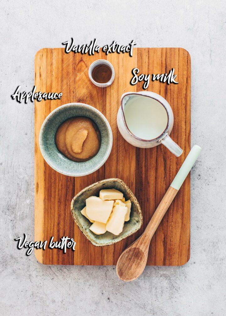 Donut ingredients: applesauce, soy milk, vegan butter, vanilla extract