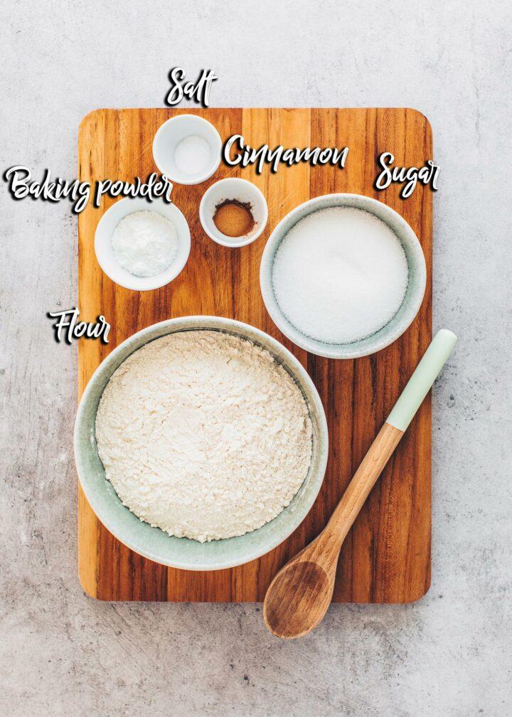 Donut ingredients: flour, baking powder, sugar, dairy-free milk, cinnamon, salt