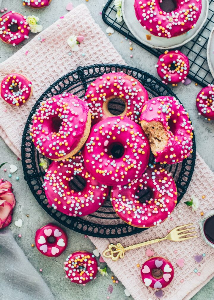 Donuts with pink glaze and sprinkles