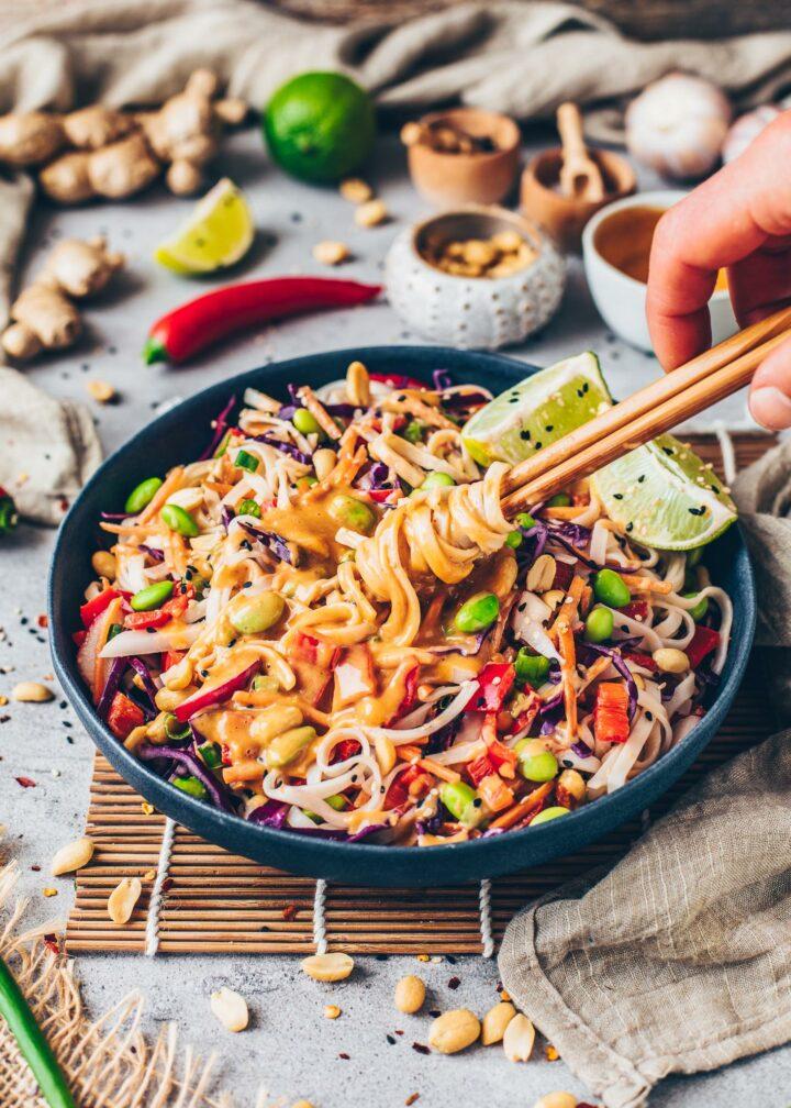 Thai Rice Noodle Salad with Peanut Sauce