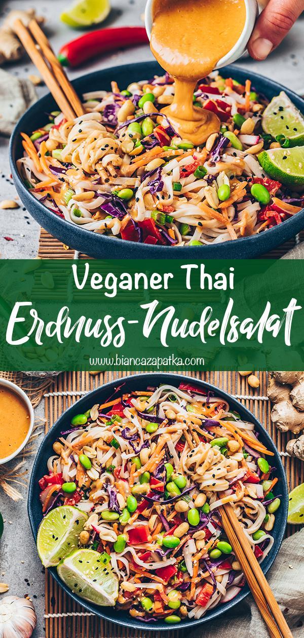 Nudelsalat mit Erdnusssauce (Thai Erdnuss-Nudeln)