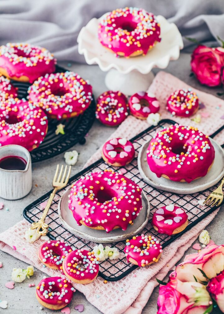 Vegan Donuts with glaze and sprinkles