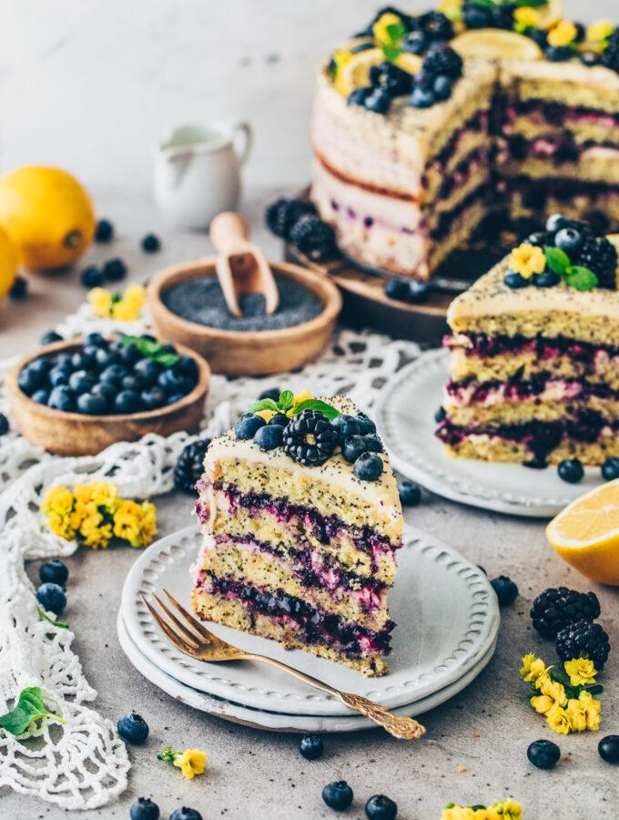 Lemon Layer Cake with Poppy Seeds and Blueberry Filling
