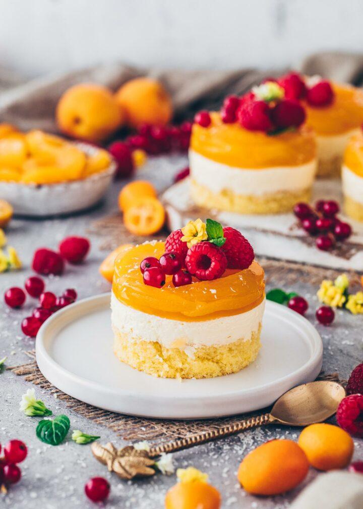 Apricot Cakes   Vegan No-Bake Cheesecakes