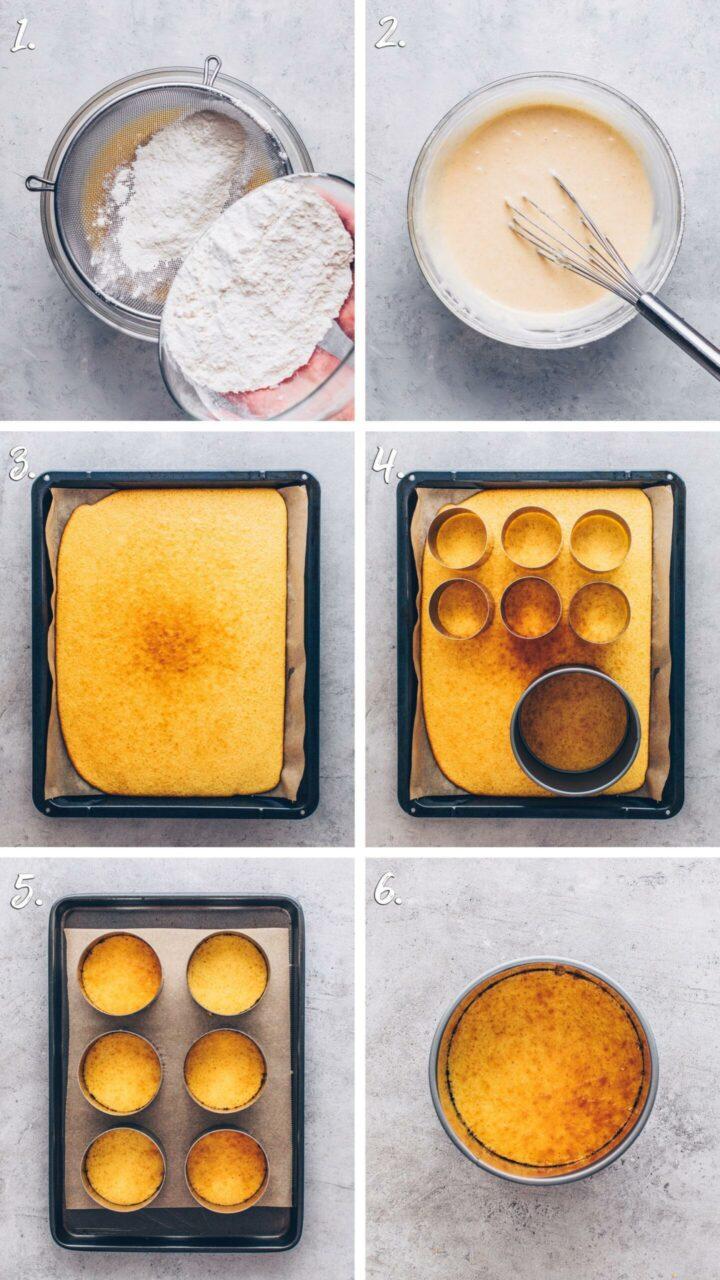 sponge cake with dessert rings