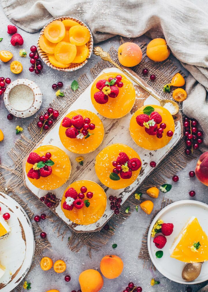 Vegan Apricot Cakes with berries (food photography)