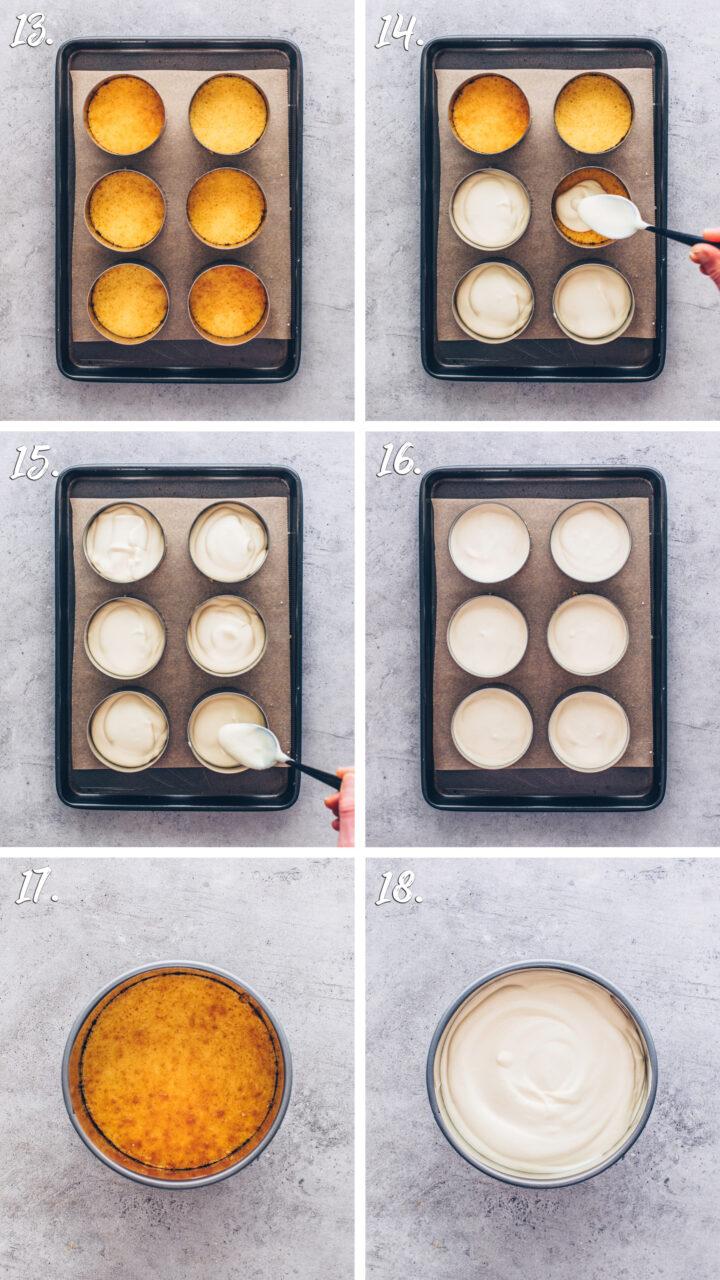 Creme Füllung auf den Bikuitboden geben, um Käsekuchen Törtchen zu machen