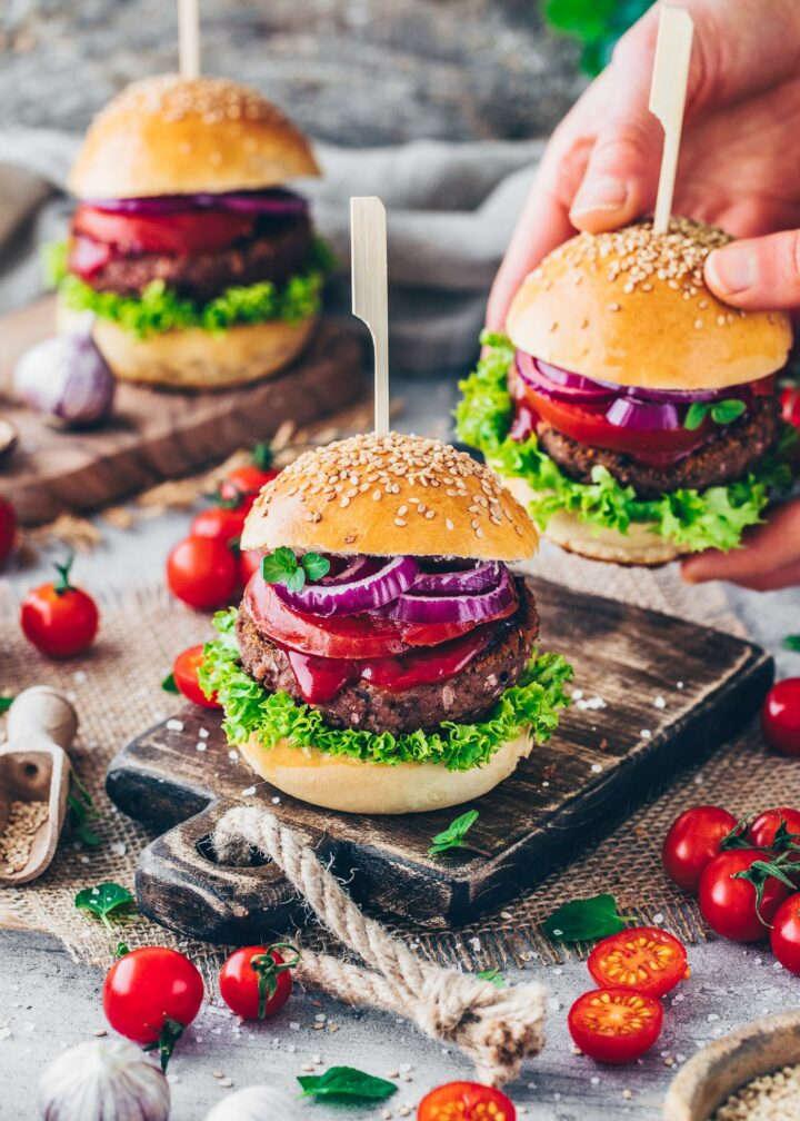 Vegan Burger with meat-less patty, lettuce, tomatoes, onions and ketchup