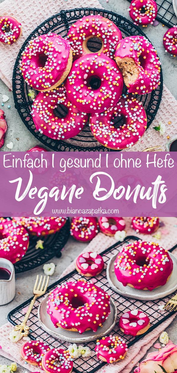 Donuts mit Glasur und Streuseln (vegan, gesund, einfach) Food Fotografie Rezept