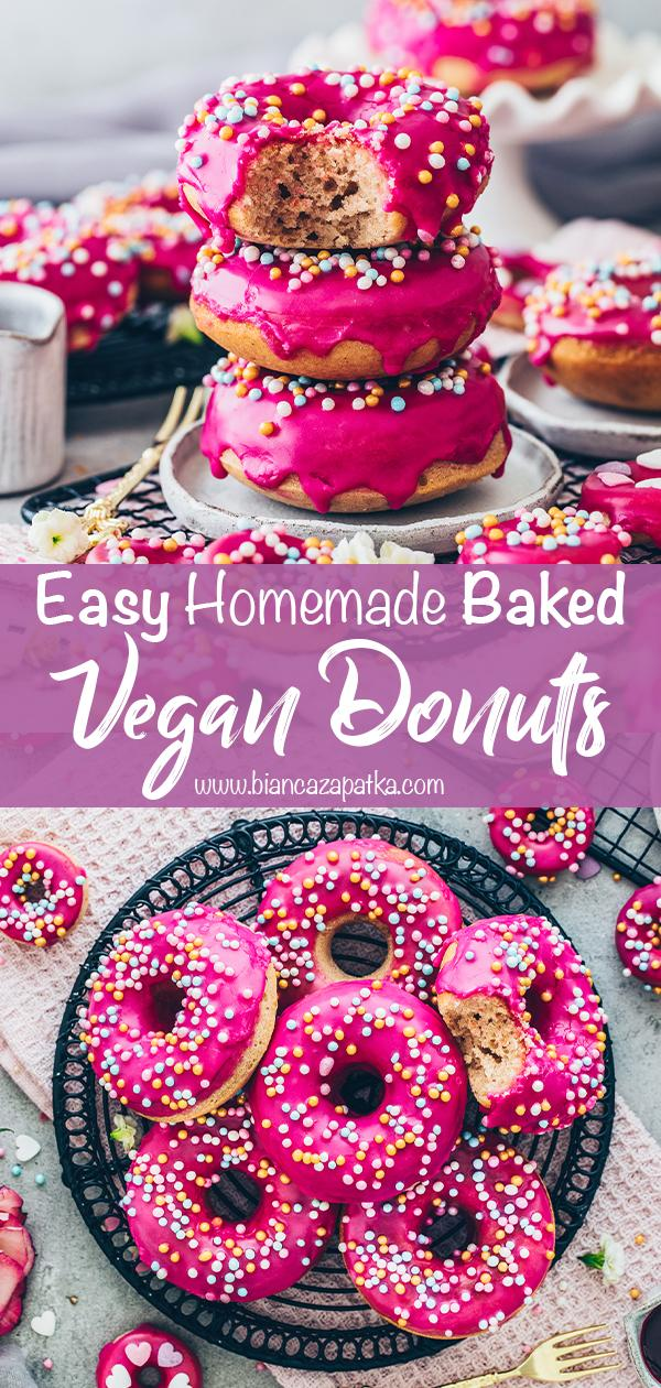 Donuts with glaze and sprinkles (Vegan, easy, healthy, baked) food photography recipe