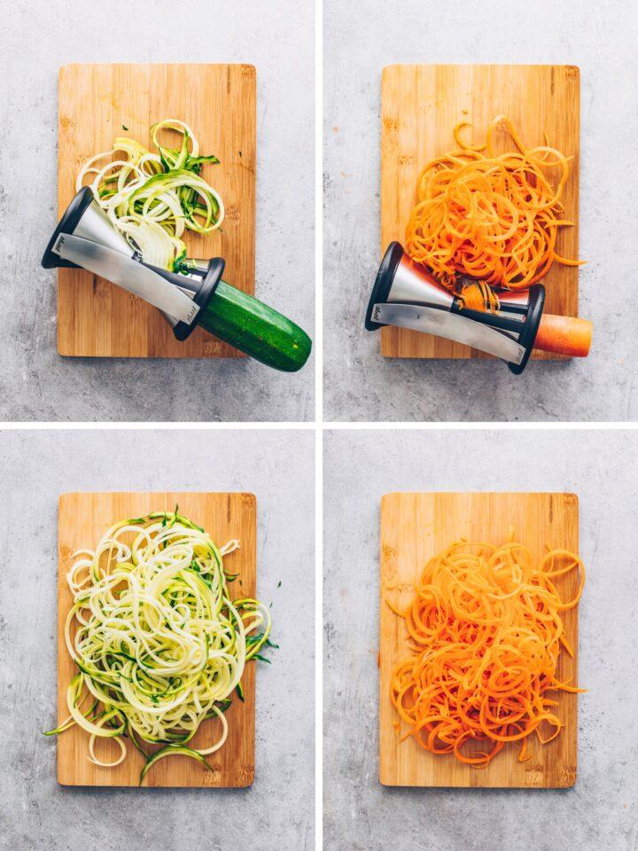 zucchini spaghetti and carrot noodles