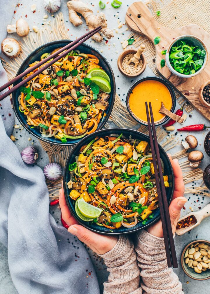 Veggie Noodles with Thai Peanut Sauce (Food Photography)