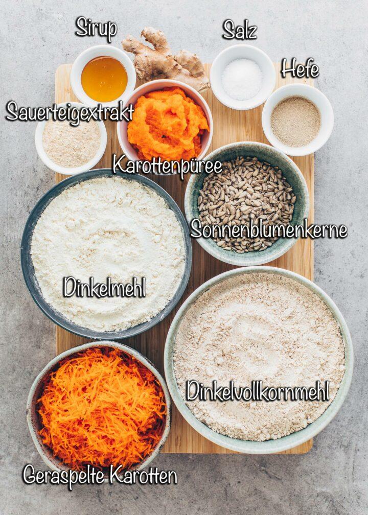 Zutaten für Brot mit Dinkel-Vollkornmehl, Karotten und Sonnenblumenkerne