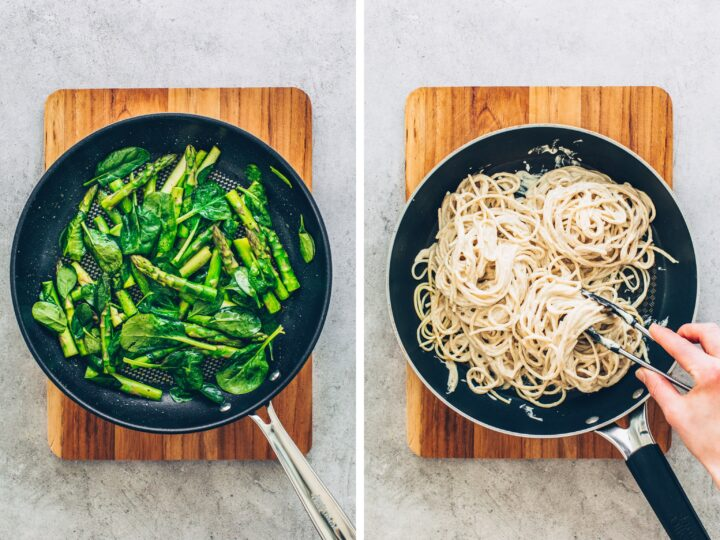 Spaghetti with creamy cashew sauce, asparagus and spinach