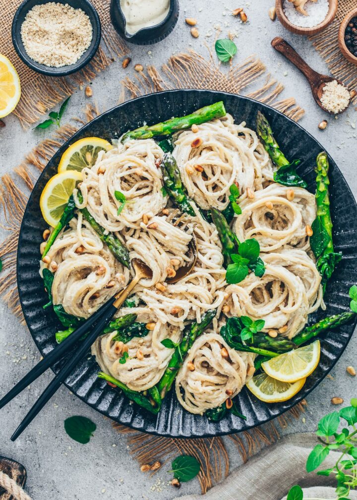 Vegan Lemon Pasta with Asparagus