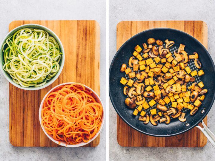 zucchini spaghetti (zoodles), carrot spaghetti noodles, crispy tofu and mushrooms