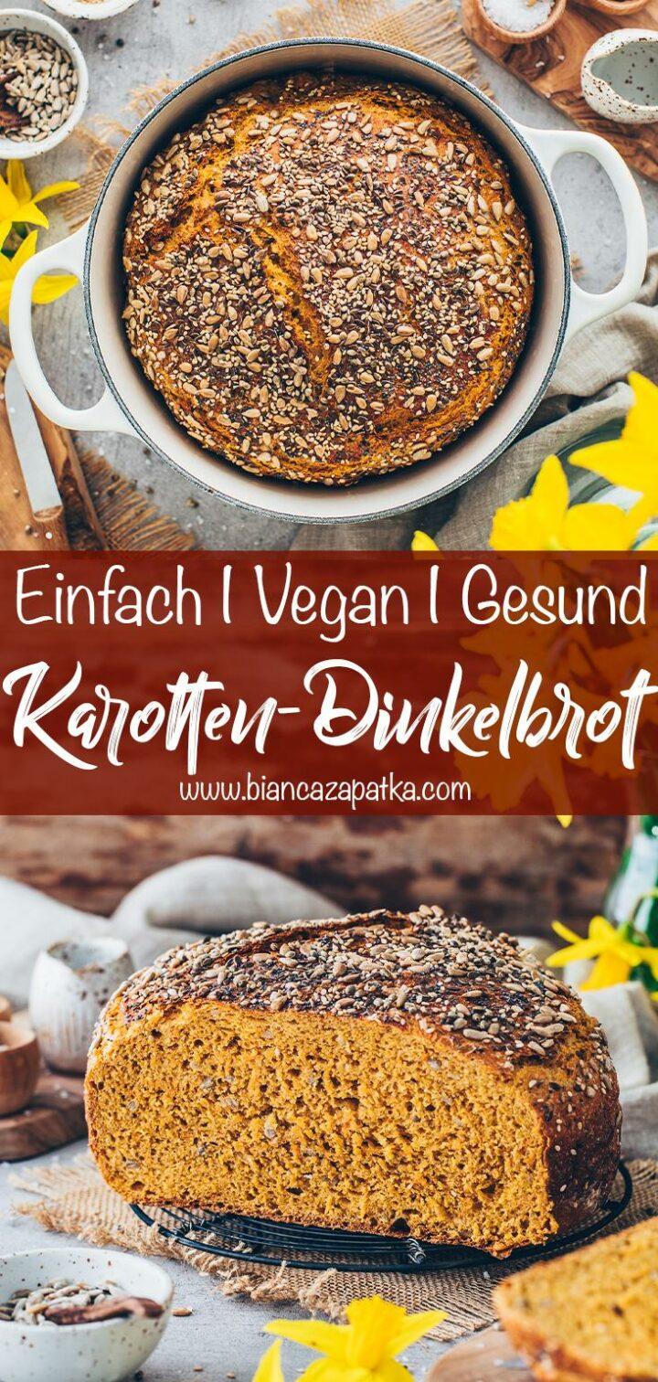 Dinkelbrot mit Karotten (einfach, vegan, gesund)