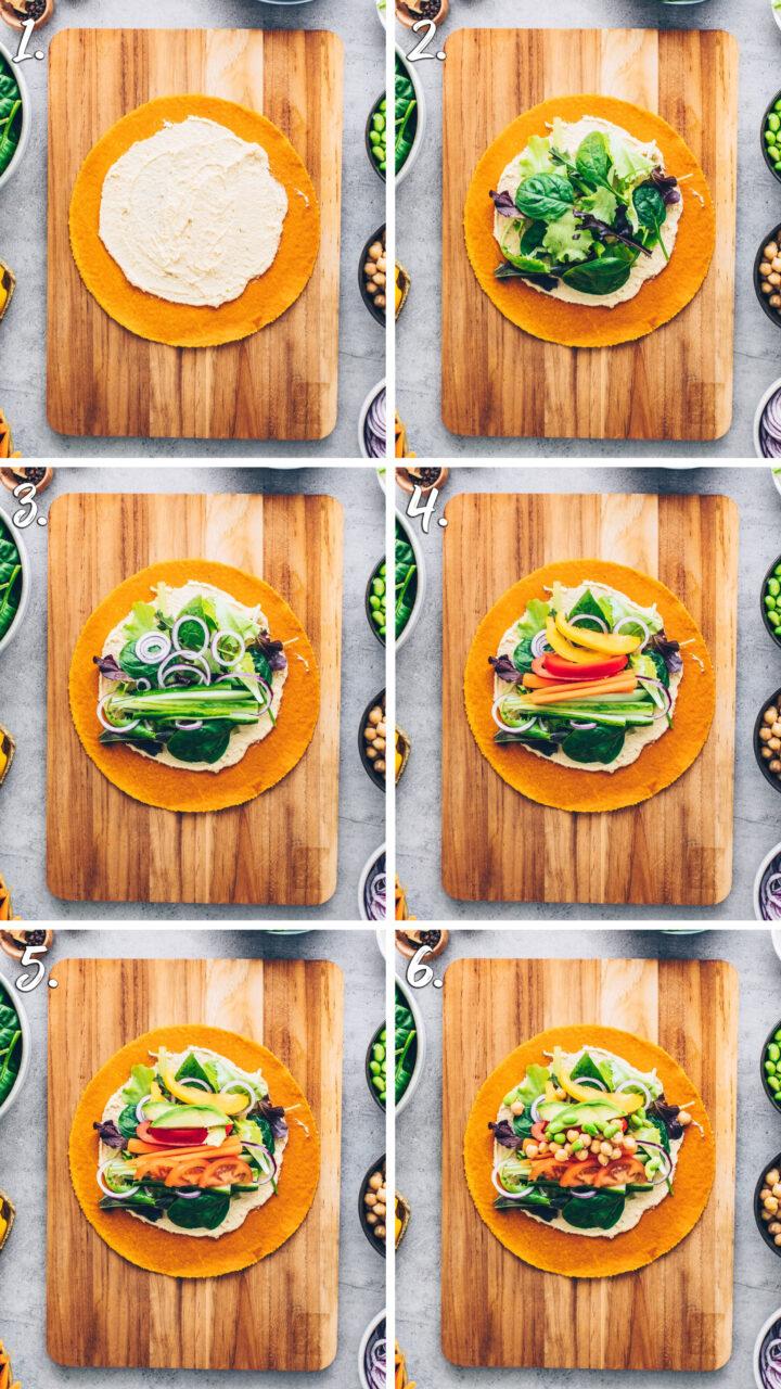How to make veggie hummus wraps