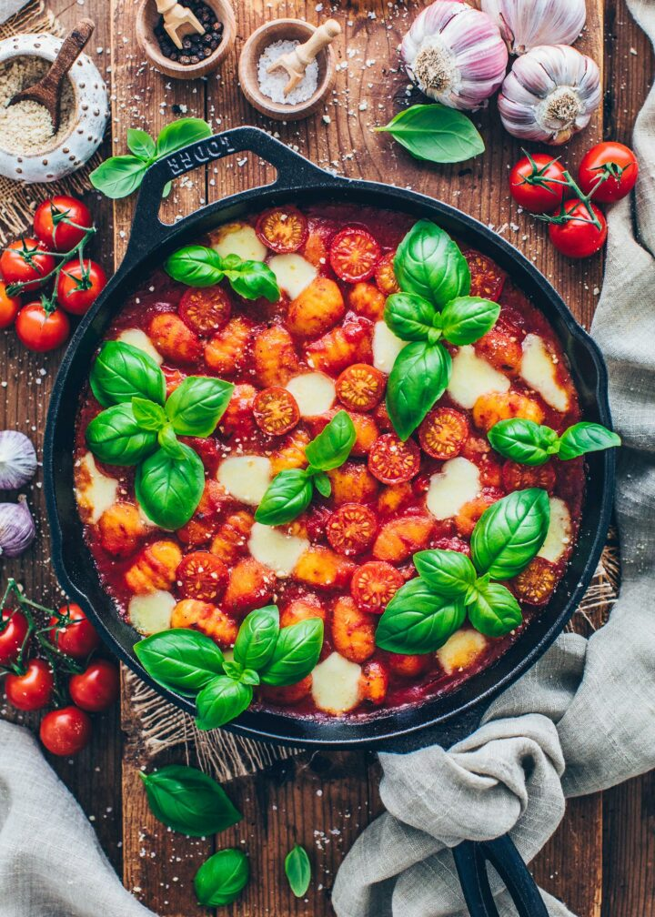 One-Pot Baked Gnocchi with Tomato and Vegan Mozzarella in a skillet