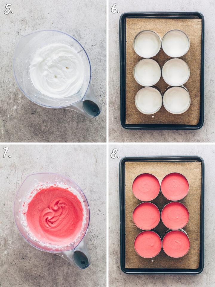 Vanille-Creme und Himbeer-Creme für Dessert-Ringe um Törtchen zu machen