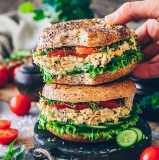 Vegan Chickpea Tuna Salad Bagel Sandwich