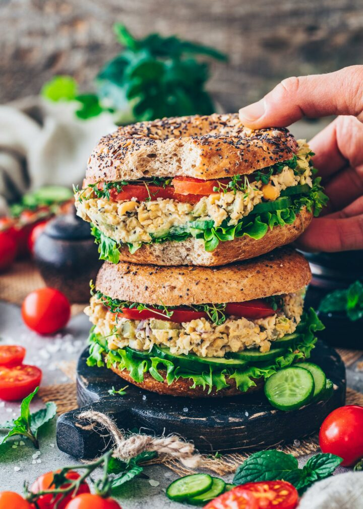 Vegan Chickpea Tuna Salad Bagel Sandwich
