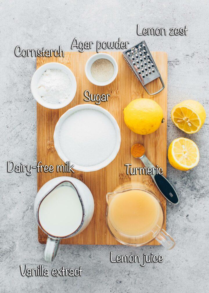 Ingredients for lemon curd bars