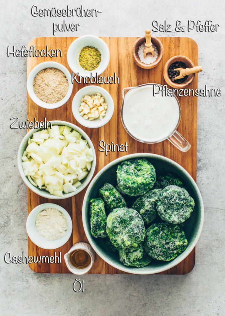 Zutaten für Rahmspinat Vegan