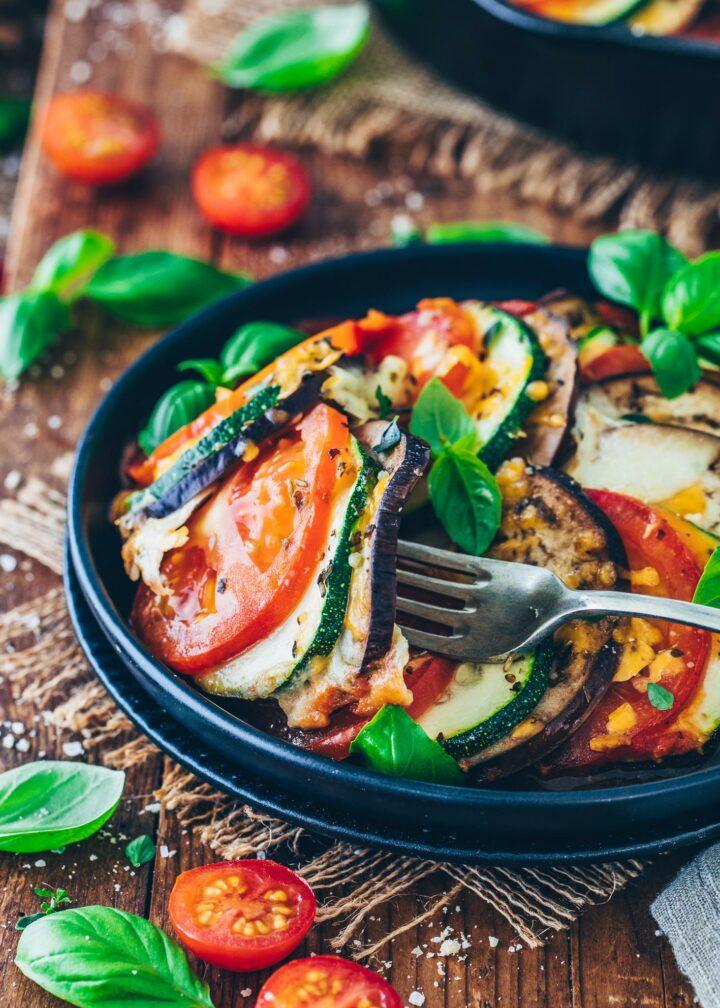 Ratatouille - Französischer Gemüse-Auflauf mit Zucchini, Auberginen und Tomaten