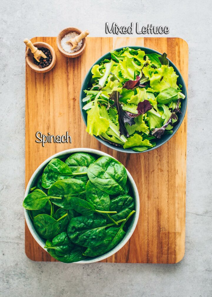 Salad and spinach