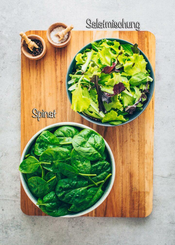 Spinat und Salat