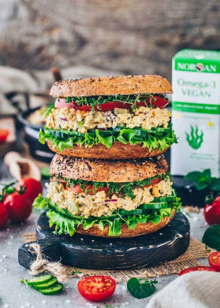 Vegan Tuna Bagel Sandwich with Omega-3