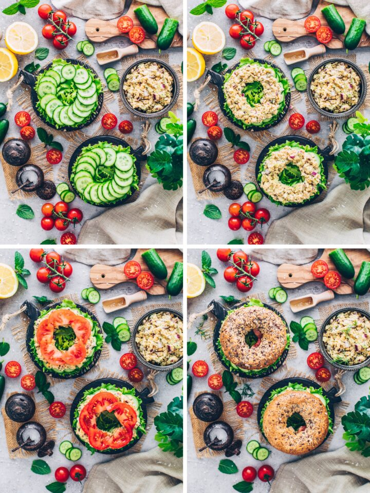 Vegan Bagels with Chickpea Salad, cucumber, tomatoes, lettuce, cress