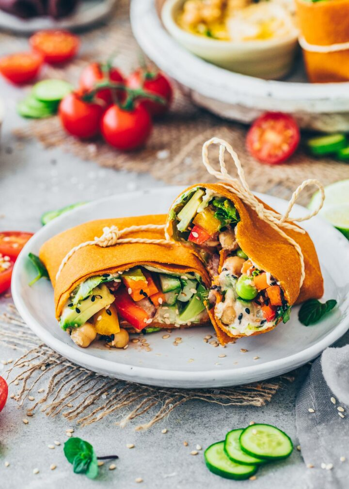Vegan Wraps with vegetable low-carb tortillas and hummus