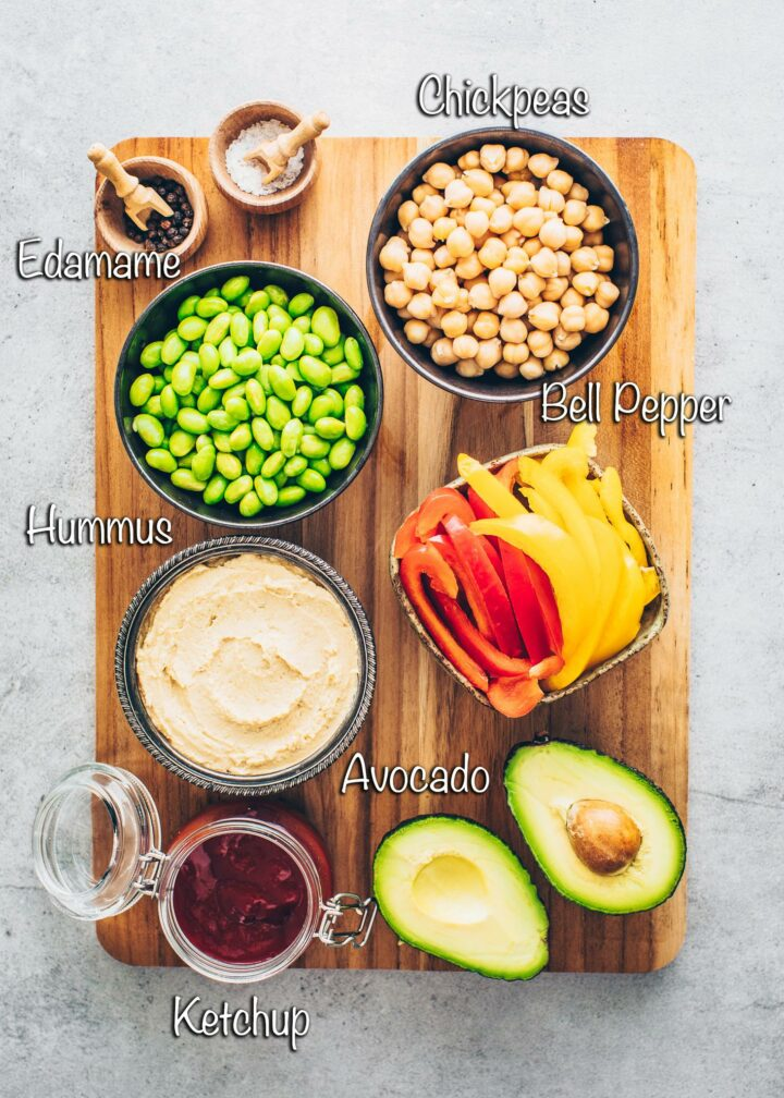 chickpeas, edamame, bell peppers, hummus, ketchup, avocado, salt, pepper