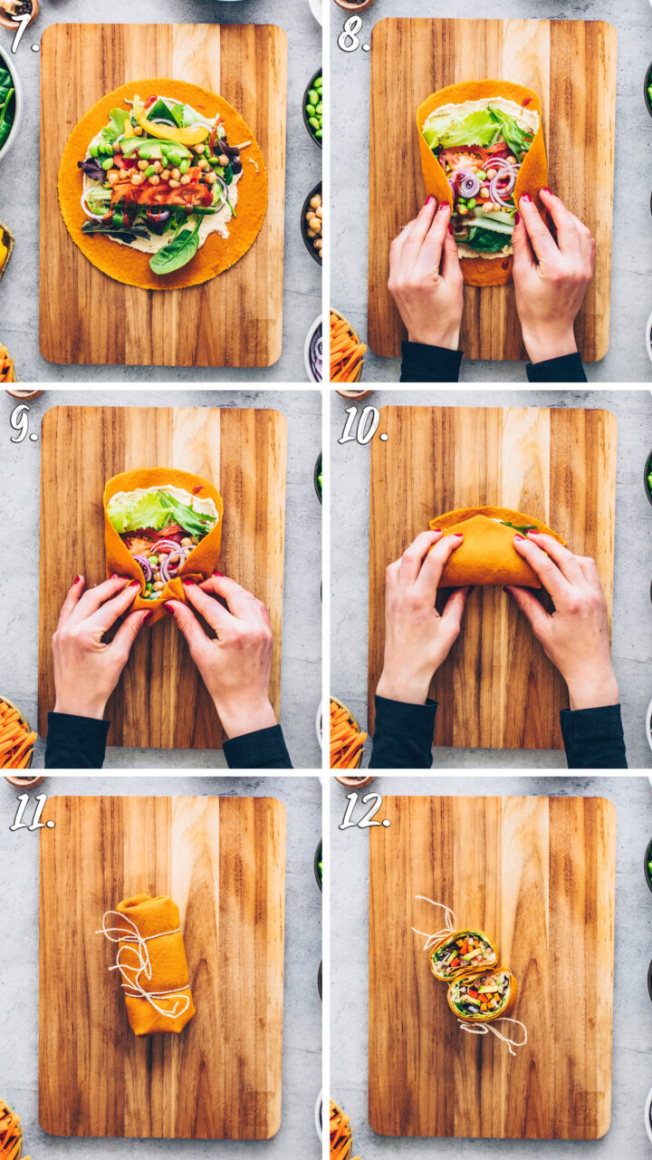 How to make vegan wraps with vegetables and hummus