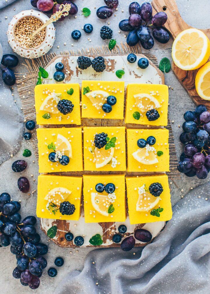 Lemon Bars with blackberries and blueberries