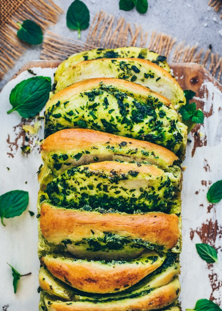 Garlic and Herb Pesto Pull Apart Bread