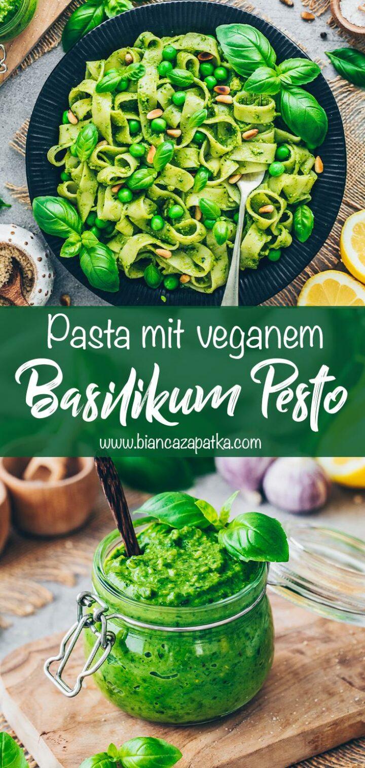 Pasta mit Basilikum Pesto (selbstgemacht und vegan)